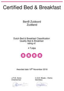 Certificaat BenB Zuidoord 4 tulips